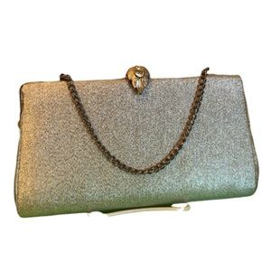VINTAGE Rhinestone Clasp Closure Gold Clutch
